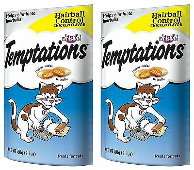 Whiskas Temptations Hairball Control Cat Treats Chicken flavor 2.1 Oz (2 pack)