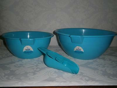x 2 VINTAGE Mixing Bowls & Measuring Scoops by BARR Hostalen  HOECHST PLASTIC