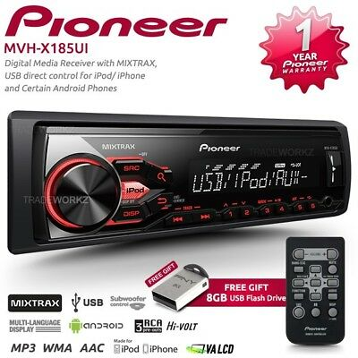 New PIONEER MVH-X185UI MOSFET 50WX4 USB AUX IN Car Radio Stereo Player Headunit