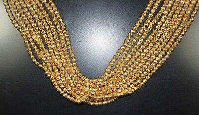 """3 Mm - 4 Mm  13 """" Natural  1 Line Of  Coated Gold Pyrite  Treated Beads Strand"""