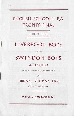 English Schools Trophy Final 1969 Liverpool v Swindon at Anfield