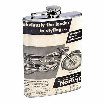 Norton Motorcycle Vintage Ad Flask D108 8oz Stainless Steel Black & White