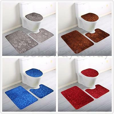 Floor Rugs Sets Soft 3 Pieces Toilet Bath Mat Lid Non Slip Washroom Washable