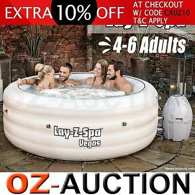 Bestway Lay-Z-Spa Inflatable Palm 4-6 Person Hot Tub Warm Water Spa with Pump WH