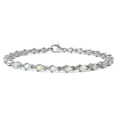 Ladies Sterling Silver 24 Stone Natural Opal Set Bracelet Anniversary Gift