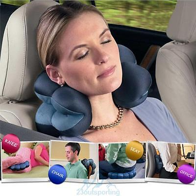 Amazing Comforts Travel Twist Pillow Driving Office Flying Massage Cushion Blue