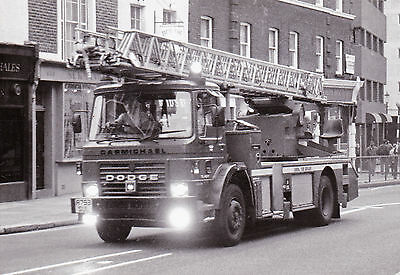 Black & White Photo of an old Dodge London Fire Brigade TL - A793 SUL