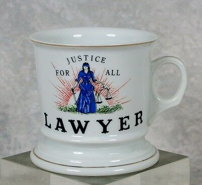 Vintage Lawyer Attorney Barrister Occupational Painted Shaving Mug With Handle