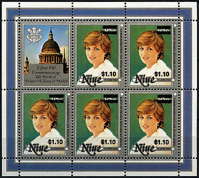 Niue 1981 SG#518a/b $1.10 On 95c Royal Birth MNH Sheetlet #D38022