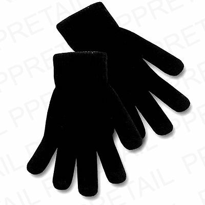 QUALITY NEW Mens Large BLACK THERMAL GLOVES Winter Warm One Size FAST POST