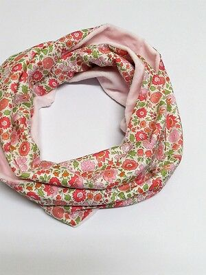 Infinity scarf. Liberty of London D'anjo pale pink and pale pink star minky.