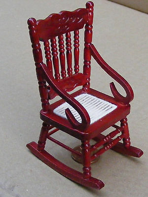 1:12 Scale Rocking Chair With A Cloth Seat Doll House Miniature Furniture