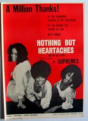 THE SUPREMES 1965 Poster Ad NOTHING BUT HEARTACHES motown