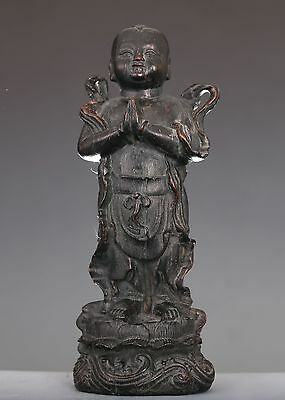"""EXQUISITE RARE OLD CHINESE """"ShanCaiTongZi"""" ROSEWOOD CARVING KID STATUE ED161"""