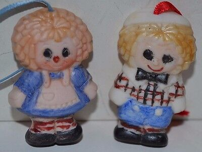 Vintage Raggedy Ann Andy Porcelain Bisque Handmade Ornament Miniature Lot