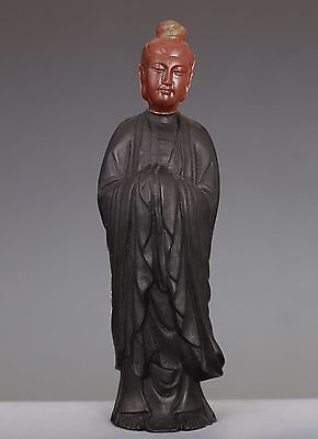 """Rare Old Chinese Rosewood """"shoushan"""" Stone Carved Buddha Sculpture Statue Ed159"""