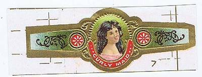 Curly Maid lithographer's proof  portait cigar band EX Mint