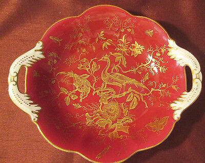 Stunning COALPORT Made In England DBL. HANDLED DISH Red White Gold Excellent