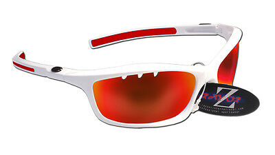 RayZor Uv400 White Frame Vented Red Mirrored Lens Cricket Wrap Sunglasses RRP£49