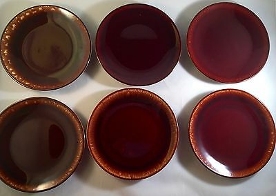 """Set Of 6 Vintage Brown Dip 6 3/4"""" Bread And Butter Plates USA"""