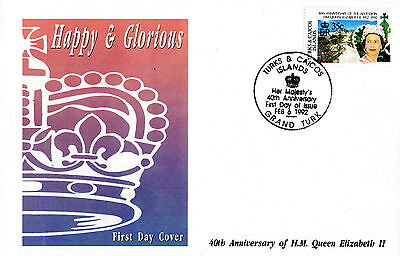 TURKS & CAICOS 16 FEBRUARY 1992 HAPPY AND GLORIOUS 35c FIRST DAY COVER SHS