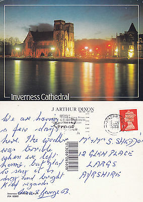 1995 Cathedral & River Ness Inverness Inverness Shire Scotland Colour Postcard