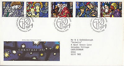10 November 1992 Christmas Royal Mail First Day Cover Pangbourne Shs