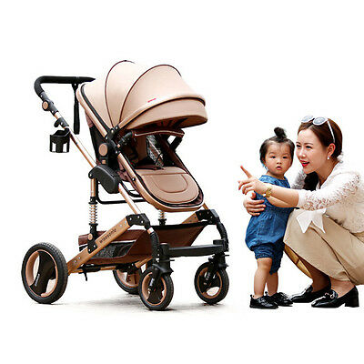 New Infant Stroller High View Bi-Direction Baby Pushchair Comfy Breathable Pram