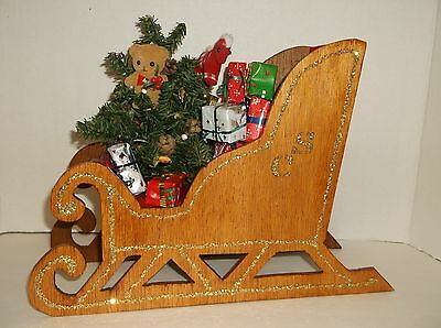 """Handcrafted Wooden Santa Sleigh W/tree, Gifts~Stained Wood,glitter Accent~13""""~"""