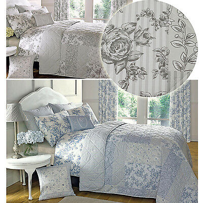French Country Toile Bedspread With Patchwork Florals & Reversible Stripes
