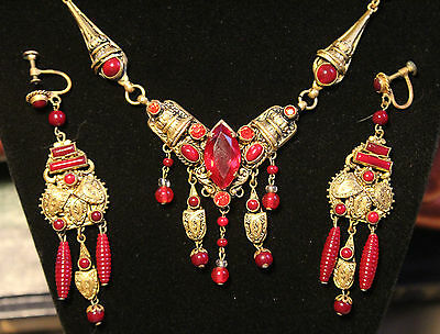 Max Neiger Etruscan Revival Red Czech Glass Art Deco Necklace and Earrings Set