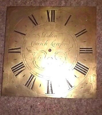 Longcase grandfather clock face dial, mid 18th C, brass