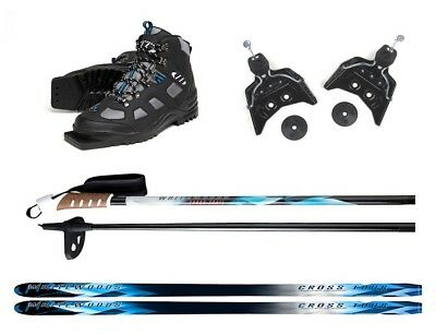 New Whitewoods 75mm 3Pin Cross Country Package Skis Boots Bindings Poles 177cm