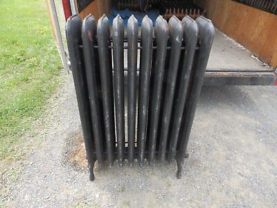 Antique Steam Radiator 10 Sections Cast Iron Old Plumbing Heating 2336-16 (4)