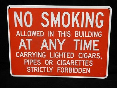 "Vintage (NOS) FIBERGLASS SIGN * NO SMOKING CIGARS, PIPES, CIGARETTES * 14"" x 10"""