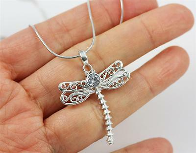 Unusual Solid 925 Sterling Silver,CZ Dragonfly Pendant Necklace jewellery + BOX