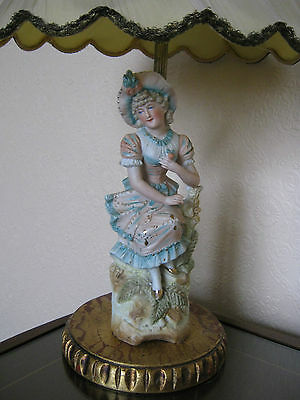 Beautiful Vintage Continental? German? Bisque Figurine of Young Lady Gold Detail