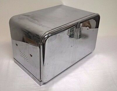 Vintage Beauty Box by Lincoln Chrome Metal Bread Box Cutting Board on Door