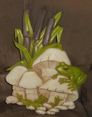 Vintage Retro Burwood 1972 Homco Home Interior Frog Mushrooms Cattails Green