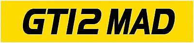 Private Number Plate GT12 MAD- GTR MAD - GTR PLATE - NISSAN GTR