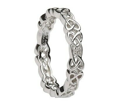 Shanore Sterling Silver Celtic Knot Wedding Ring with Diamonds Various Sizes