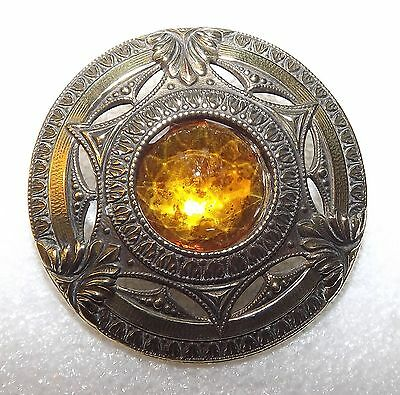 """Awesome Large Old Victorian Orange Jeweled *Gay 90's Type"""" Brass Button #J1"""