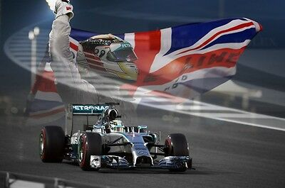 Abu Dhabi GP - Lewis Hamilton 30x20 Inch Canvas - Framed Picture F1 Poster