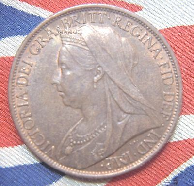 1897 Great Britain,  Queen Victoria Penny High Grade coin with Lustre