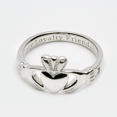 STERLING SILVER CLADDAGH RING ENGRAVED IRISH MADE Mens