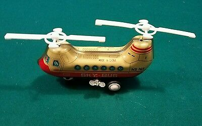 Vintage Chinese Clock Work Tin Wind-Up Toy  MS081 School Bus in Original Box
