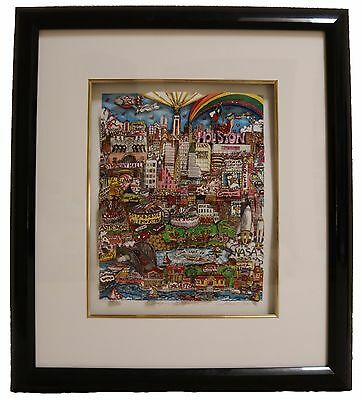 Charles Fazzino Deep in the Heart of Houston 3-D Art Framed from 1994