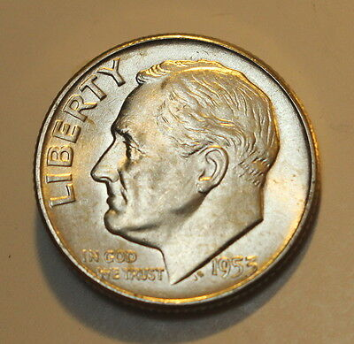1953 P ROOSEVELT DIME CHOICE BU BRILLIANT UNC - MINT STATE - free shipping !!!
