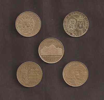 Commemorative Lot 5 Coins 2011-2016, Warriors, Circulated