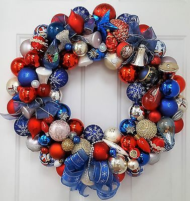 """Vintage Glass Christmas Ornament Wreath Hand Crafted 23"""" Patriotic Red Blue"""